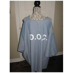 Joe Metheny original worn prison DOC shirt with artwork and thumb print signed Tiny