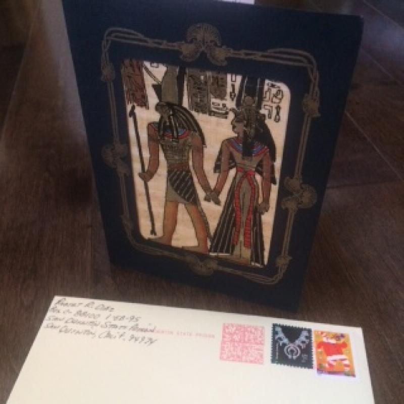Robert R. Diaz Angel of death handmade card with egyptian papyrus and original envelope from 2006
