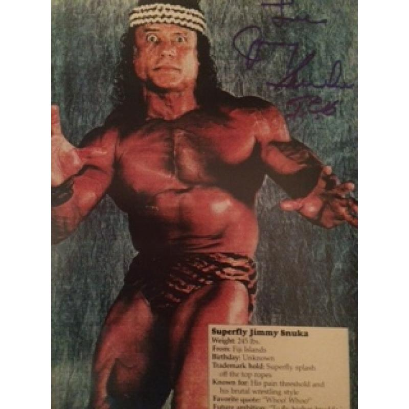 Jimmy Snuka original 8 x 10 photograph signed in full w/ CoA - No Reserve!