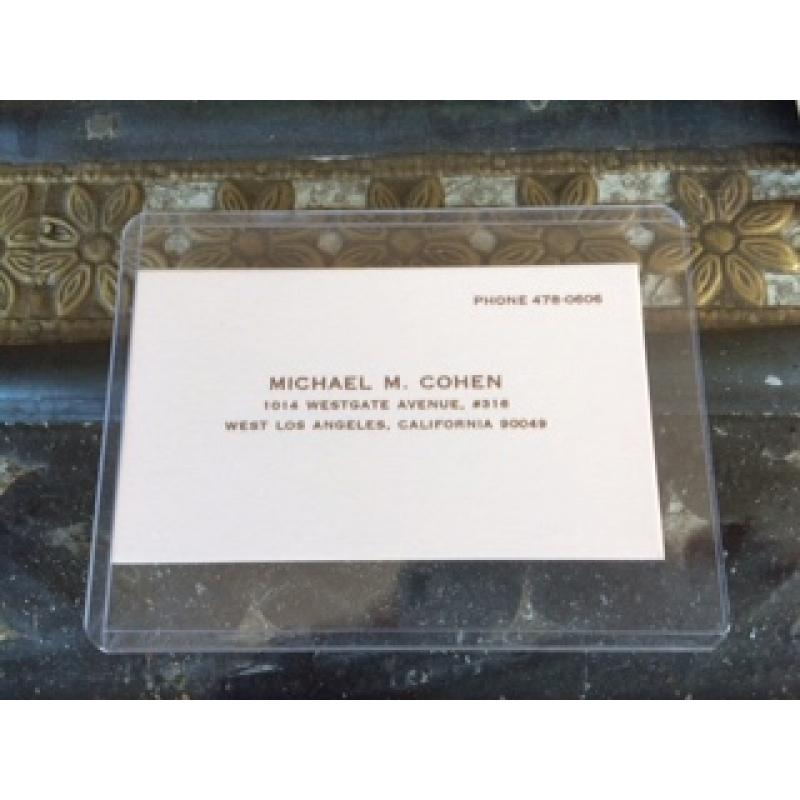 Mickey Cohen original business card given to Jimmy Smith his right handman from the 1970's