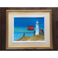 Henry Lee Lucas painting titled Cape Cod Light House 14 x 18 on canvas from 1993