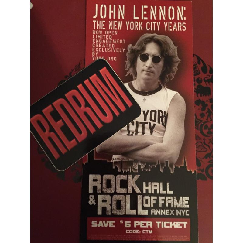 John Lennon the New York City years cardboard flyer from 2008-2009John Lennon the New York City years cardboard flyer from 2008-2009
