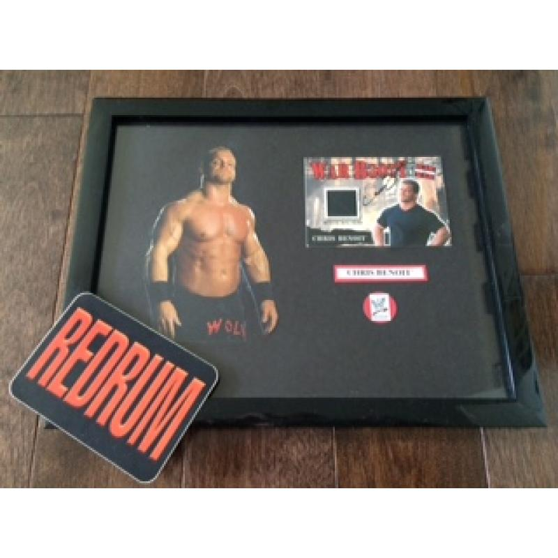 Chris Benoit display with War Booty with official ring swatch card signed Chris Benoit