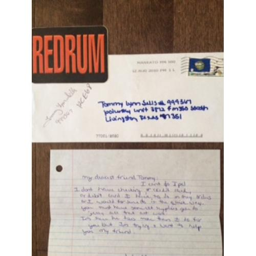 Tommy Lynn Sells original letter sent by a penpal with original envelope signed from 2010