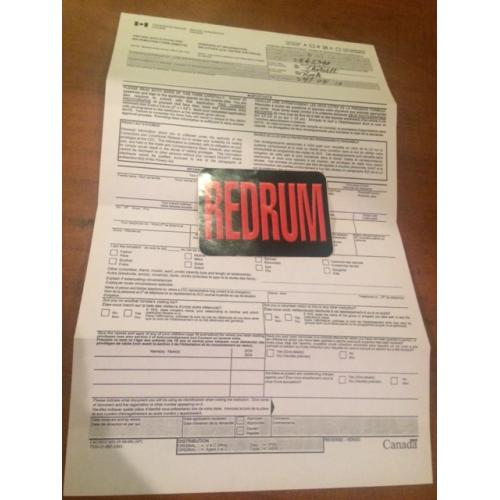Roch Theriault original 8.5 x 14 Correctional Service visitation Form 2005