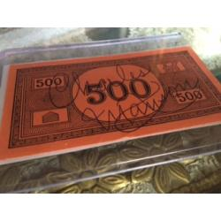Charles Manson 500$ monopoly  top bill for top important person to him signed Charles Manson