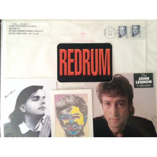 Mark David Chapman and John Lennon group lot with signed Attica envelope and picture, collector card and Lennon CD booklet from the 90's