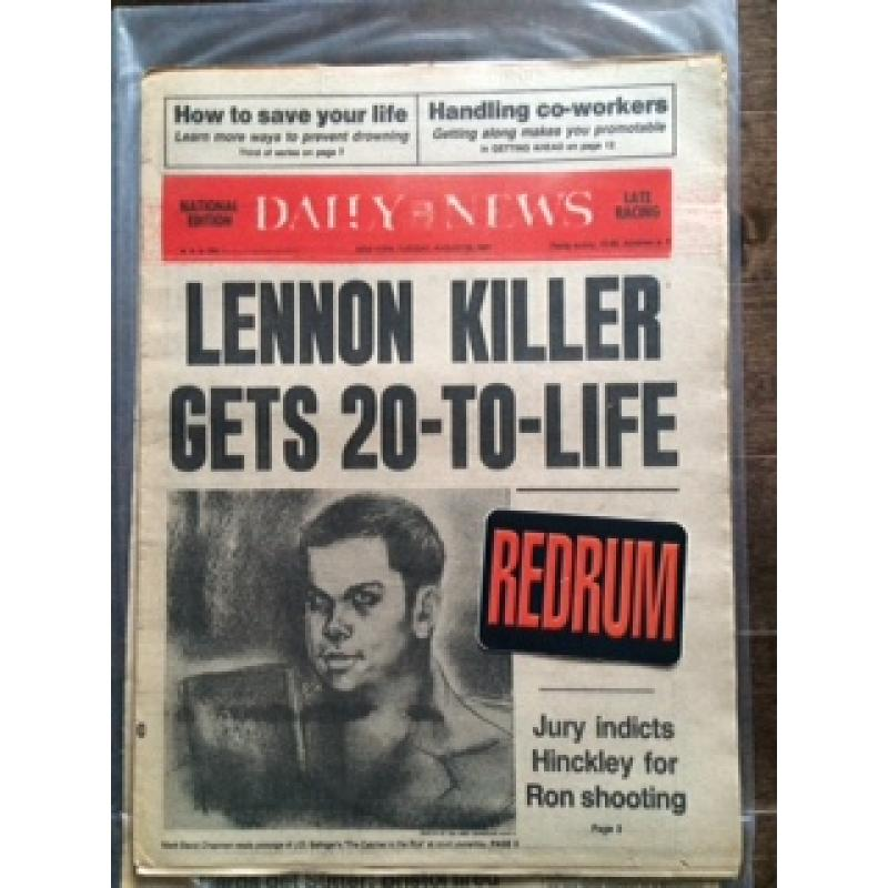 Mark David Chapman Lennon killer gets 20-To-LIFE Daily Newspaper August 25, 1981