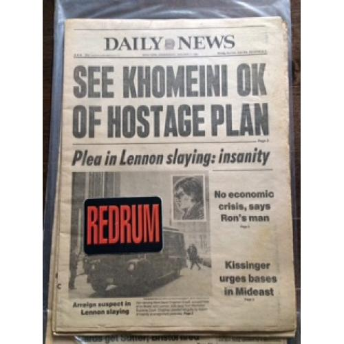 Mark Chapman Plea in Lennon slaying : insanity Daily newspaper from January 7, 1981