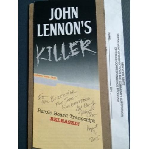 John Lennon's killer pamphlet sent to his longtime friend signed Mark D Chapman from 2015