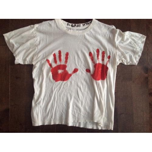 Dana Gray worn prison T-Shirt with two red handprints in paint signed D. Gray W 76776