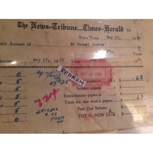 David Koresh - The News Tribune Time -Herald receipt Davidian Branch  Mt Carmel from 1959