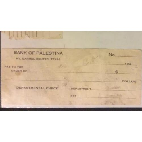 Bank of Palestina Mount Carmel Center, Texas unused check stamped Margaret Mills from the 1940's