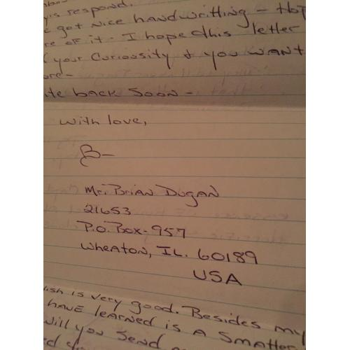 SERIAL KILLER BRIAN DUGAN 4 PAGE LETTER + ENVELOPE COMES WITH UNIVERSITY PAPERS