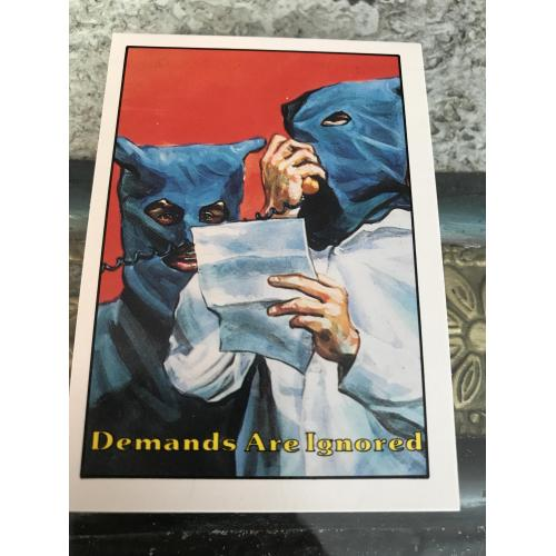 Demands are ignored Terrorist Attack no.21 card from piedmont Candy Co. 1987