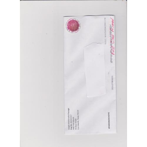 Joe Exotic Pardon Sheet plus envelope
