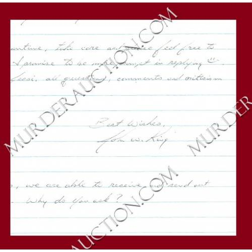 JOHN KING letter/envelope 1/26/2005 EXECUTED