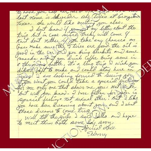 HENRY LEE LUCAS letter/envelope 12/22/1991 DECEASED
