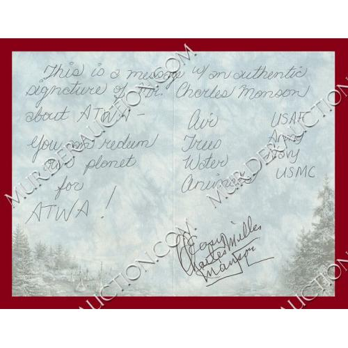 CHARLES MANSON signed greeting card DECEASED