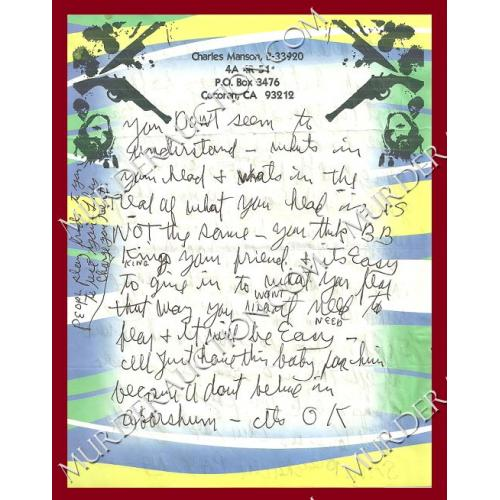 CHARLES MANSON letter/envelope 2/5/2008 DECEASED