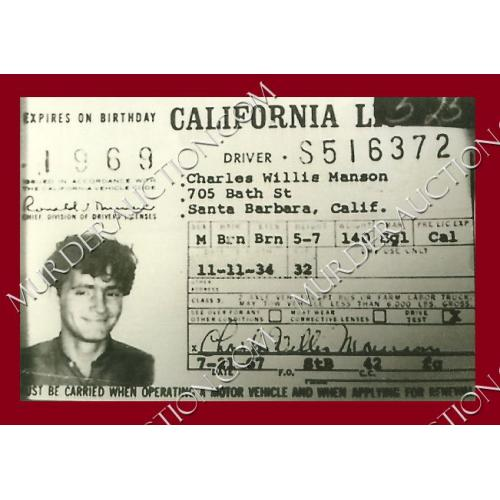 CHARLES MANSON photograph 4×6 (driver's license) DECEASED