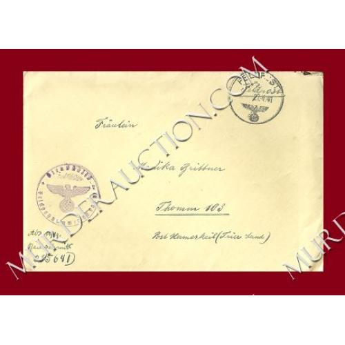 NAZI GERMANY WWII field post letter/envelope 4/24/1941