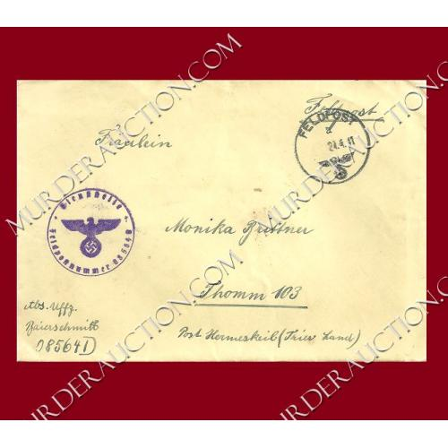 NAZI GERMANY WWII field post letter/envelope 4/23/1941