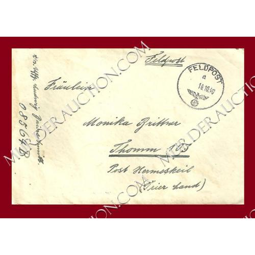 NAZI GERMANY WWII field post letter/envelope 10/16/1940
