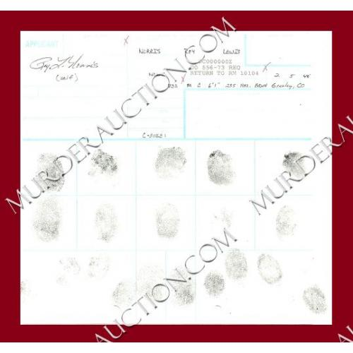 ROY NORRIS fingerprint chart DECEASED