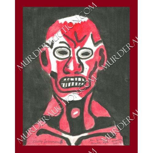 PHILLIP JABLONSKI red face painting 8.5×11 3/2013 DECEASED