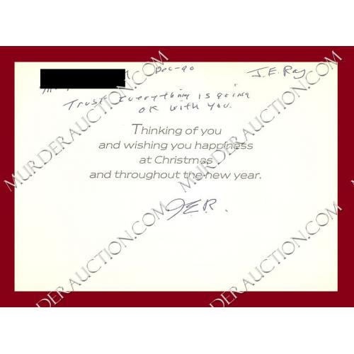 James Earl Ray card/envelope 12/11/1990 DECEASED