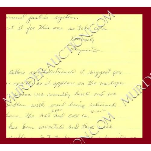 RAYMOND BROWN letter/envelope 4/16/1997 DECEASED