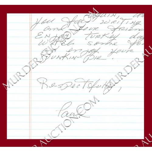 PAUL REID letter/envelope 11/15/2006 DECEASED