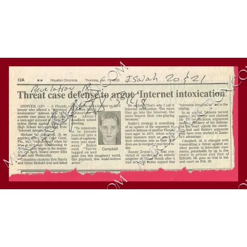 ANGEL RESENDIZ signed newspaper clipping EXECUTED