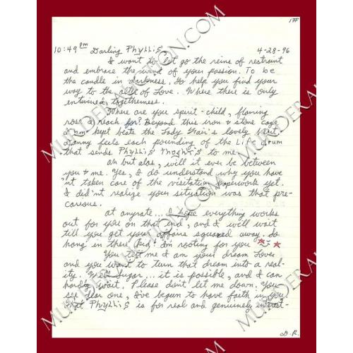 DANNY ROLLING letter/envelope 4/28/1996 EXECUTED