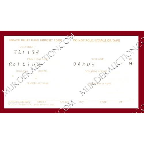 DANNY ROLLING Inmate Trust Fund Deposit Form EXECUTED
