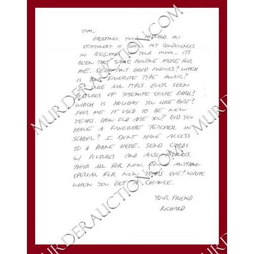 Richard Ramirez letter/envelope 12/11/2010 DECEASED