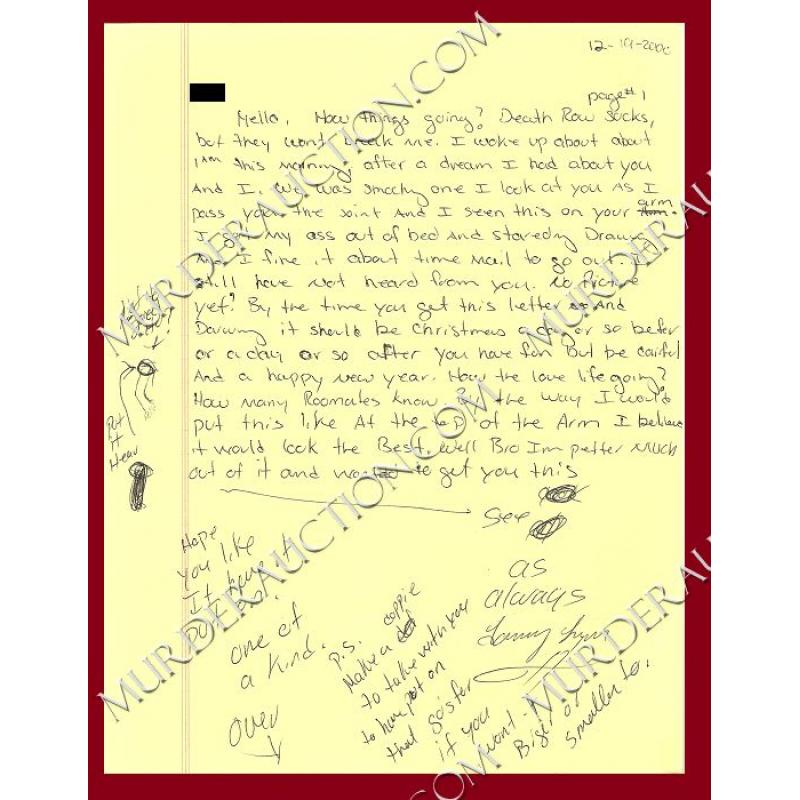 TOMMY LYNN SELLS letter/envelope 12/19/2000 EXECUTED