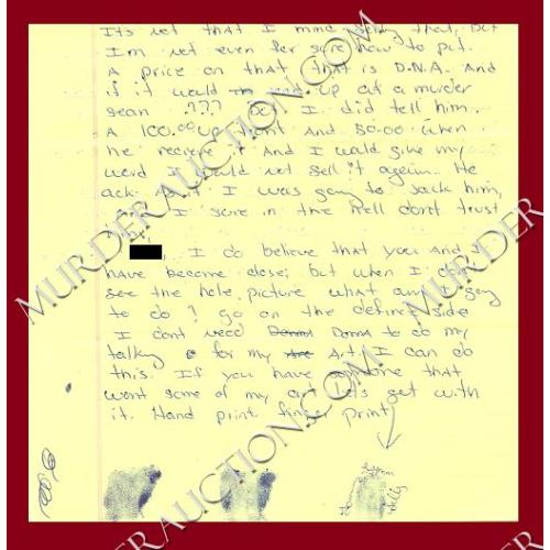 TOMMY LYNN SELLS letter/envelope with fingerprints 10/5/2001 EXECUTED