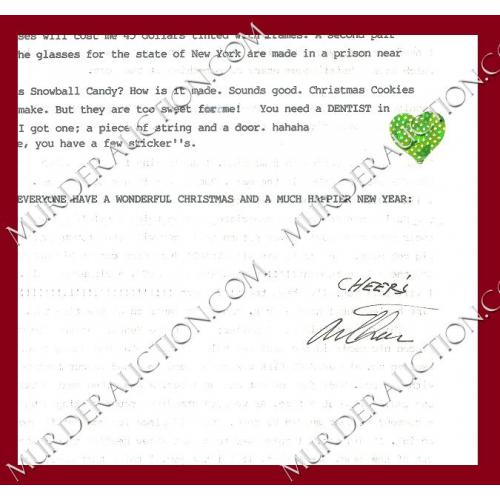 Arthur Shawcross letter/envelope 12/19/2002 DECEASED