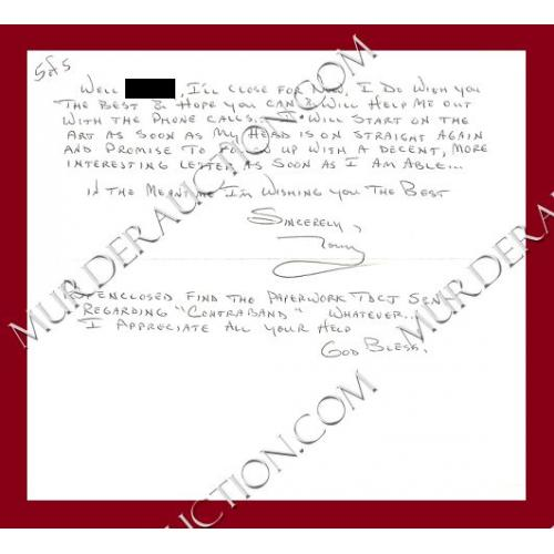 Anthony Shore letter/envelope 8/22/2005 EXECUTED