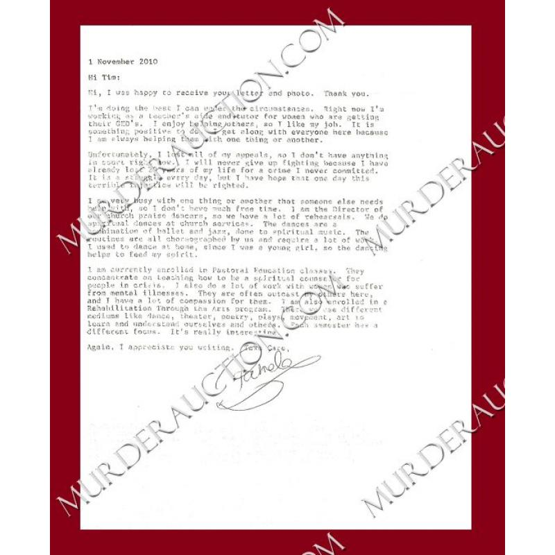 Pamela Smart letter/envelope 11/1/2010
