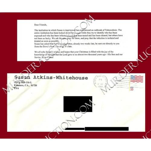 SUSAN ATKINS letter/envelope 12/17/1999 DECEASED