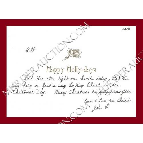 John Wille card/letter/envelope 12/5/2006