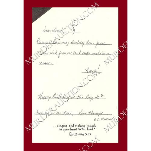 Aileen Wuornos birthday card EXECUTED